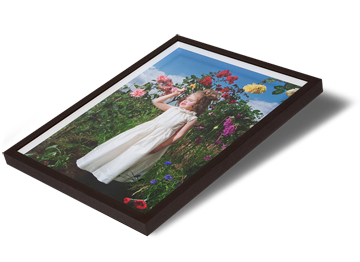 Box frames have a fillet which creates a space between the print and the glazing, so there is no contact with the glass. Using Waterwhite float glass, your print is mounted first to Foamboard or a similar substrate before being set into a box moulding with a fillet spacer. The fillet keeps the glass and print separate, so the whole<span class=